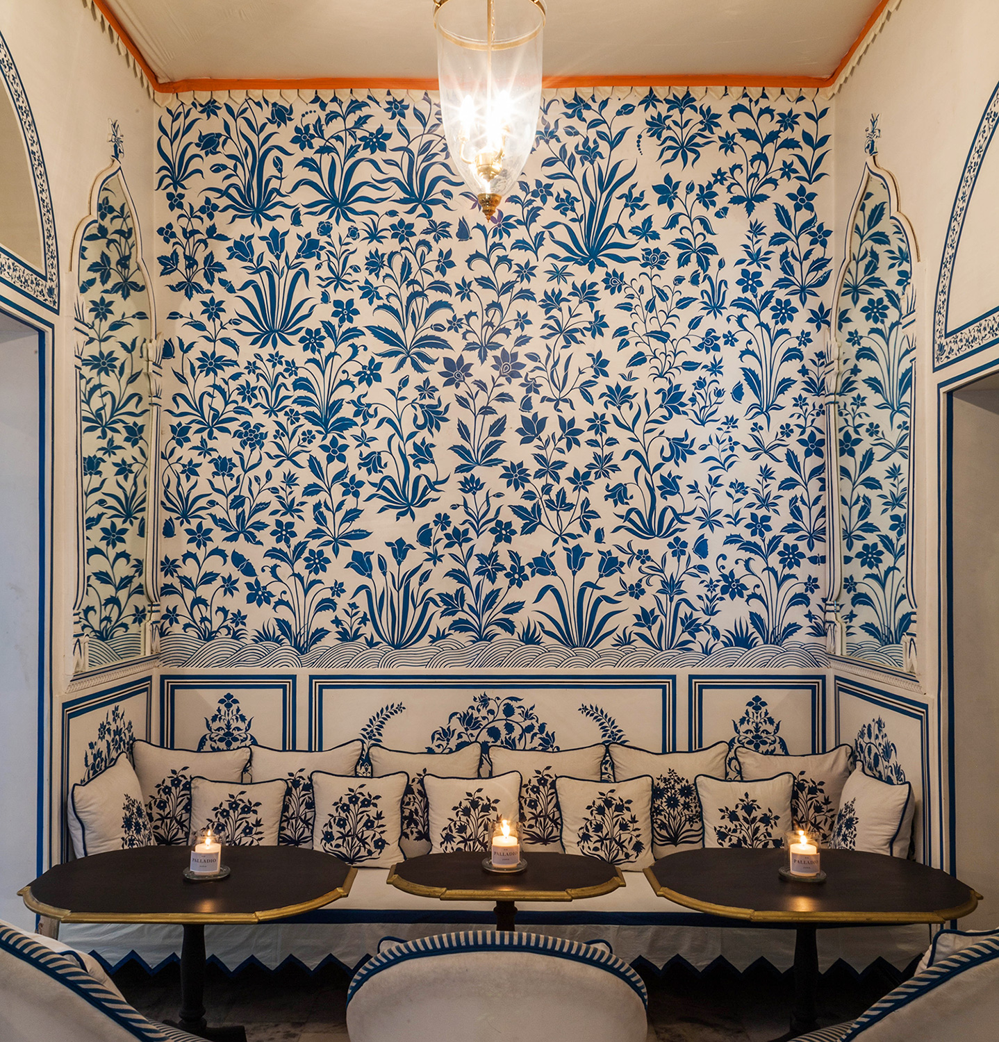"Bar Palladio - ""White Room"" blue and white floral hideaway"
