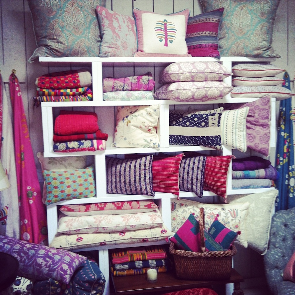 A selection of pillows in Kathryn Ireland's Los Angeles showroom